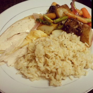 Engagement Chicken with brown jasmine rice