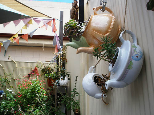 dream garden with tea pots