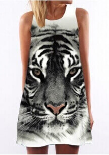 Animal Printed Sleeveless Casual Shift Dress under 10 dollars