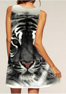 Animal Printed Sleeveless Casual Shift Dress Back