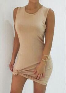 Bodycon Solid Dress Beige under $ 10