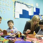 Montessori preschool children may receive a lesson one-on-one, or they may work with one another