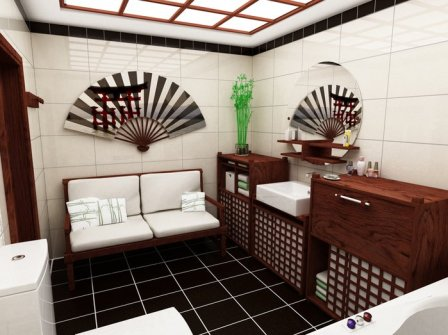 First of all, a bathroom in Japanese style, this zoned room to which the simplest are applicable, sometimes even minimalistic decisions
