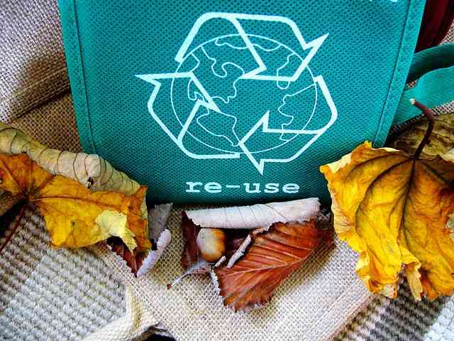 Eco-friendly packing supplies are common in today's market. Eco-bag with the sign re-use on it.