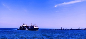 Ocean freight delivering commercial goods.