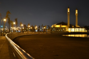 A mosque in Jeddah at night.
