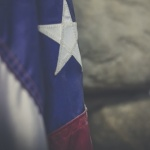 Texas flag hanging.