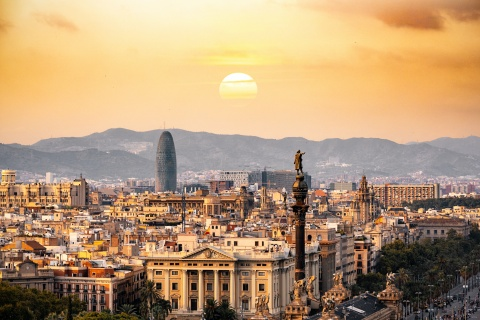 The view of Barcelona, Spain.