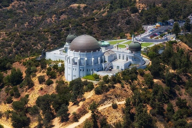 Bird's-eye view of Griffith observatory in LA.