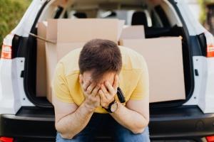 Man under stress during a DIY move
