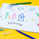 : A drawing of a family near their house surrounded by pens